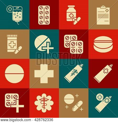 Set Ointment Cream Tube Medicine, Medicine Pill Or Tablet, Bottle And Pills, Iv Bag And Pills Bliste