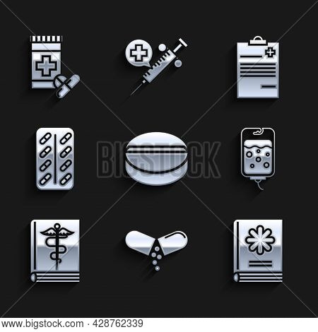 Set Medicine Pill Or Tablet, Medical Book, Iv Bag, Pills Blister Pack, Clipboard With Clinical Recor