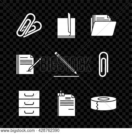Set Paper Clip, File Document, Document Folder, Drawer With Documents, And Binder, Scotch, Blank Not
