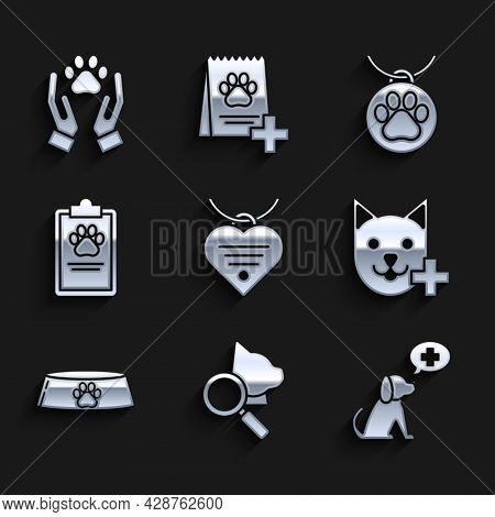 Set Collar With Name Tag And Heart, Veterinary Clinic Symbol, Pet Food Bowl For Cat Or Dog, Clipboar