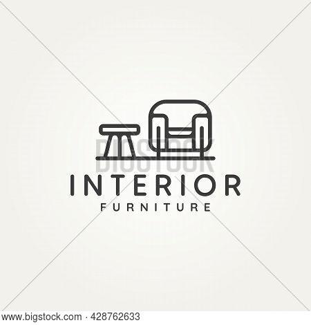 Interior Furniture Home Design Minimalist Line Art Icon Logo Template Vector Illustration Design. Si