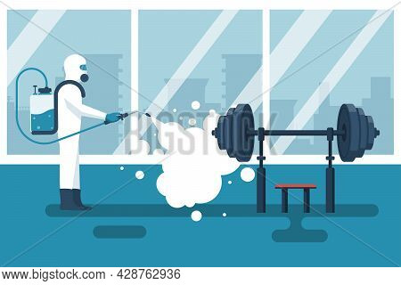 Disinfection Gym. Cleaning Fitness Center. Prevention Of Covid 2019. Specialist In Hazmat Suit Disin