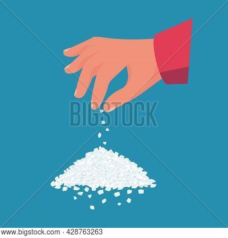 Salt Sprinkling. Man Holds Salt In Hand. Salt The Culinary Dish. Vector Illustration Flat Design. Is