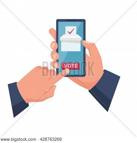 Online Voting Concept. Vector Illustration Flat Design Style. A Man Holds A Smartphone In His Hand.