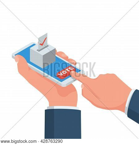 Online Voting Concept. Vector Illustration Isometric Design Style. A Man Holds A Smartphone In His H