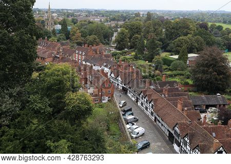 Warwick, Great Briatain - September 15, 2014: This Is A Top View Of Mill Street, Lined With Old Half