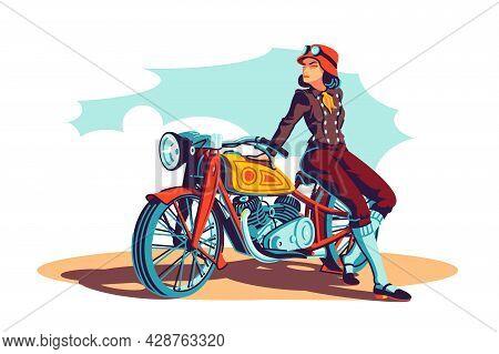 Biker Woman On Motorbike Vector Illustration. Biker On Motorcycle Flat Style Concept. Girl Sitting O