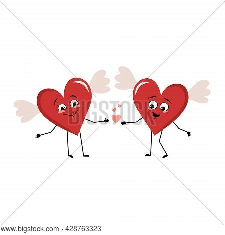 Cute Character Red Heart With Wings And Love Emotions, Smile Face, Happy Eyes, Holding Hands. Valent