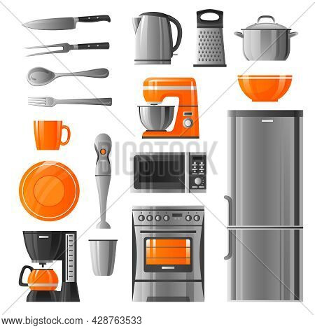 Appliances Flat Icons Set In Realistic Style With Microwave Refrigerator Stove  Kettle Mixer Blender