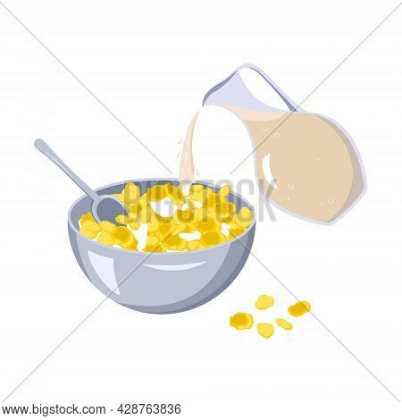 A Bowl Of Cornflakes And A Spoon. Milk Is Poured From A Jug Into A Plate Of Food. Fast Food Breakfas