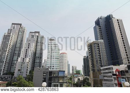 Buildings And Condos Houses And Buildings In The City Of Thailand.view From Tall Building On A Brigh