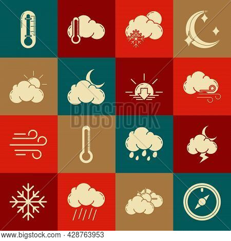 Set Wind Rose, Storm, Windy Weather, Cloud With Snow And Sun, Moon Stars, Sun Cloud, Thermometer And