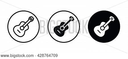 Acoustic Guitar Vector Icon. Classic, Instrument, Musical, Rock, Sound, Acoustic, String, Play, Elec
