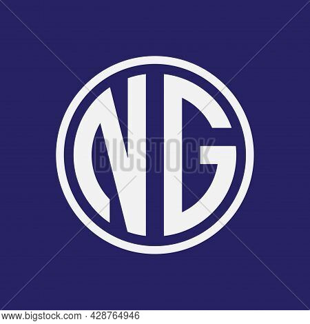 White Letter Ng In Cirlce Shape Isolated On Navy Blue Color Background. Monogram, Intial, Alphabet L