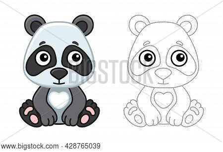 Coloring Animal For Children Coloring Book. Funny Panda In A Cartoon Style. Trace The Dots And Color