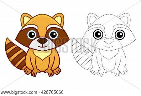 Coloring Animal For Children Coloring Book. Funny Raccoon In A Cartoon Style. Trace The Dots And Col