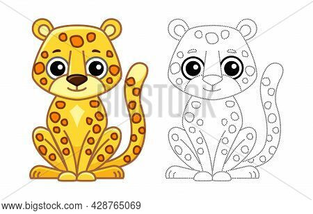 Coloring Animal For Children Coloring Book. Funny Leopard In A Cartoon Style. Trace The Dots And Col