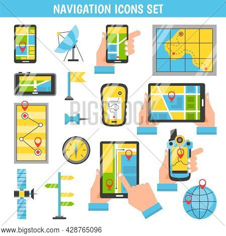 Navigation Flat Color Icons Set With Routing And Maps On Screen Of Mobile Phones In People Hands Iso