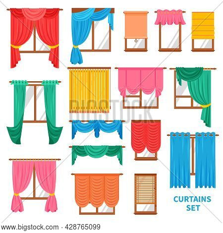 Window Colored Curtains And Blinds Flat Set For Office And Creative Home Interior Isolated Vector Il