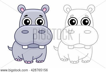 Coloring Animal For Children Coloring Book. Funny Hippo In A Cartoon Style. Trace The Dots And Color