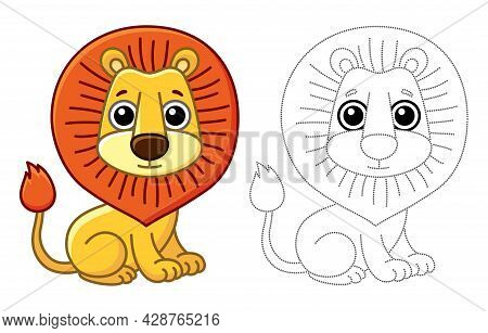 Coloring Animal For Children Coloring Book. Funny Lion In A Cartoon Style. Trace The Dots And Color