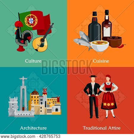 Bright 2x2 Flat Icons Set With Traditional Portugal Attire Cuisine Culture And Architecture On Color
