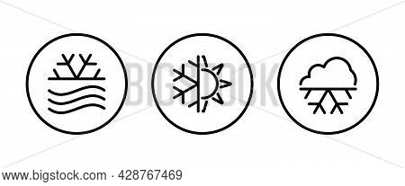 Weather Icons Set With Snowing , Winter, Snowfall And Other Temperature Elements. Blizzard Isolated