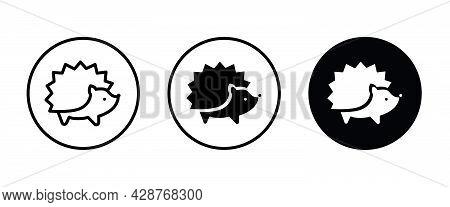 Hedgehog Icon Button, Vector, Sign, Symbol, Logo, Illustration, Editable Stroke, Flat Design Style I