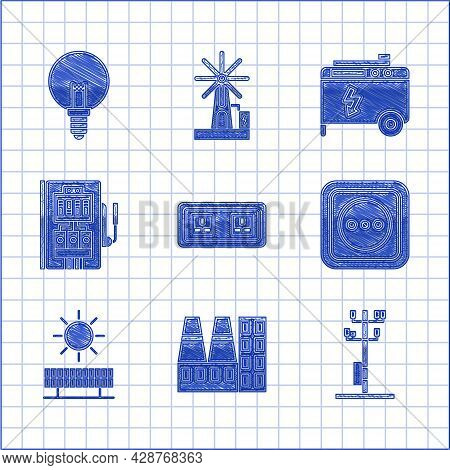 Set Electrical Outlet, Power Station Plant And Factory, High Voltage Power Pole Line, Solar Energy P