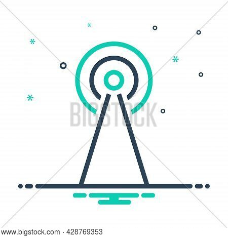 Mix Icon For Antenna Satellite Tower Broadcast Signal Cellular Connection Transmitter Wireless Netwo