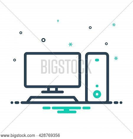 Mix Icon For Computer Monitor Cpu Screen Transfer Pc Device Display Electronic Software Technology D