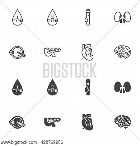 Diabetes Disease Icon Set, Line And Glyph Version, Outline And Filled Vector Sign. Diabetes Linear A