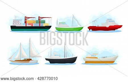 Water Transport With Freighter Ship And Sail Boat Vector Set