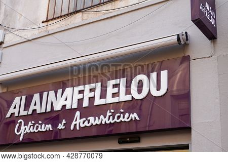Bordeaux , Aquitaine France - 07 30 2021 : Alain Afflelou Text Brand And Sign Logo Of Optical Store