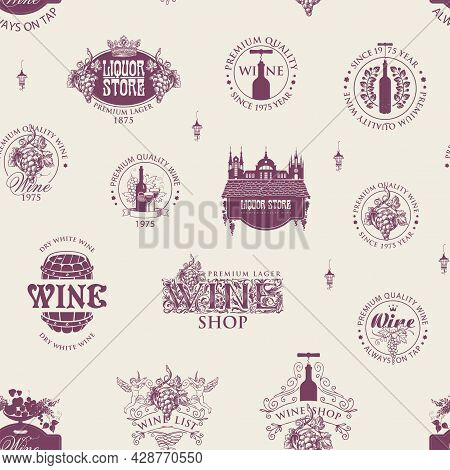 Seamless Pattern With Wine Labels, Logos, Signs In Retro Style. Monochrome Vector Background On The