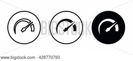 Speedometer, Tachometer Icon. Speed Indicator Sign. Car Speed. Performance Speed Metering, Scale Ico