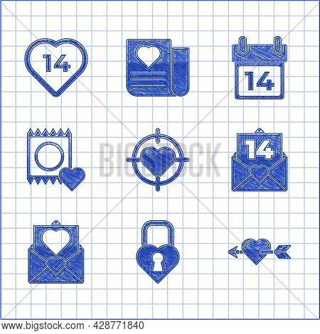 Set Heart In The Center Of Darts Target Aim, Castle Shape Heart, Amour With And Arrow, Envelope Vale