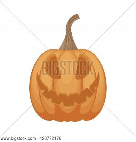 Jack-o-lantern. The Image Of A Festive Pumpkin Lantern Is A Symbol Of Halloween. An Illustration Of