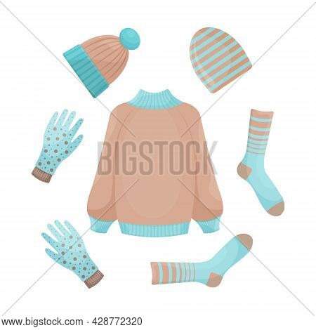 A Bright Autumn-winter Set Featuring Warm Clothes, Such As A Sweater,socks, Gloves And Hats. Warm Cl