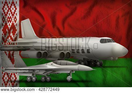 Air Forces On The Belarus Flag Background. Belarus Air Forces Concept. 3d Illustration