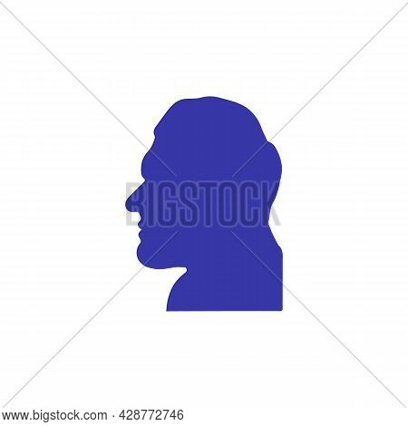 Acromegalia, Acromegaly. Neuroendocrine Disease. Pituitary Gland Disease. Man Face Silhouette Isolat