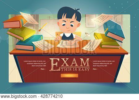 Schoolboy Pass Exam Cartoon Web Banner. Boy Solve Test Filling Paper Form At School Examination. Kid