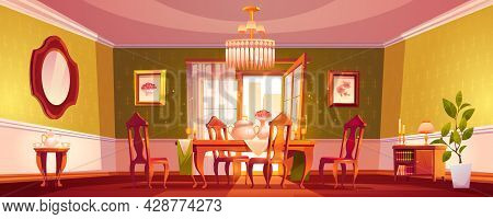 Living Room In Classic Style, Empty Interior With Served Dining Table And Chairs Front Of Open Balco