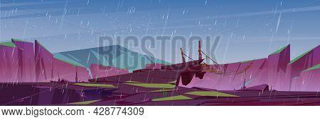Suspension Bridge Over Precipice In Mountains And Rain. Vector Cartoon Illustration Of Rocks And Woo