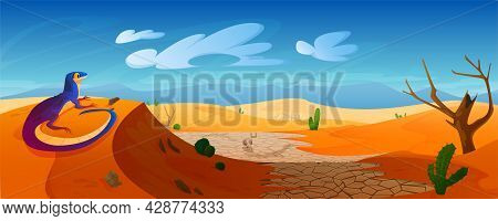 Lizard Sit On Dune In Desert With Golden Sand, Cracked Ground, Animal Skull And Bones, Cacti Under B