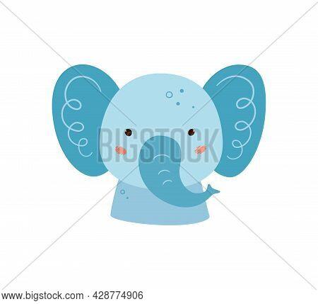 Cute Elephant. Animal Kawaii Character. Funny Little Elephant Face. Vector Hand Drawn Illustration I