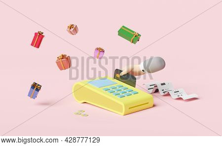 Payment Machine Or Pos Terminal With Businessman Hand Holding Credit Card,electronic Bill Payment,in