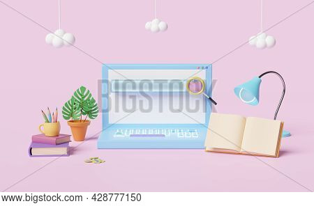 Laptop Computer With Blank Search Bar, Magnifying Glass, Book, Lamp, Coffee Cup, Pencil,cloud Isolat