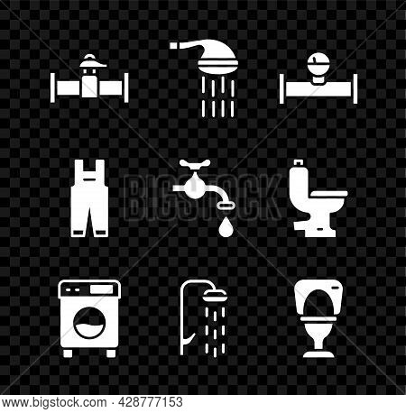 Set Industry Pipe And Valve, Shower, Manometer, Washer, Toilet Bowl, Work Overalls And Water Tap Ico