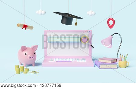 Computer With Search Bar,magnifying,hat Graduation,money Coins,diploma Rolled,piggy Bank Saving Isol